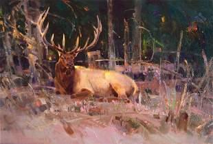 Resting Elk by Jim Morgan (1947- )