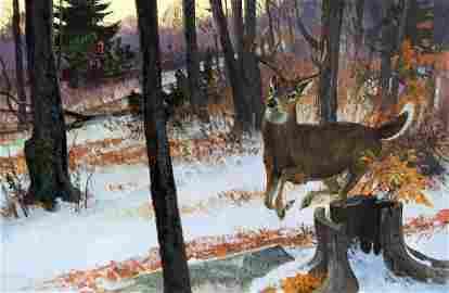 Watch the Buck Runways by Bob Kuhn (1920-2007)