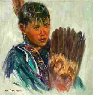 Girl with Feather Fan by Karl Thomas (1948- )
