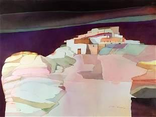 Pueblo Scene by Sari Staggs (1941- )