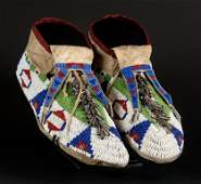 128: Sioux Fully Beaded Moccasins with Bifurcated Tongu