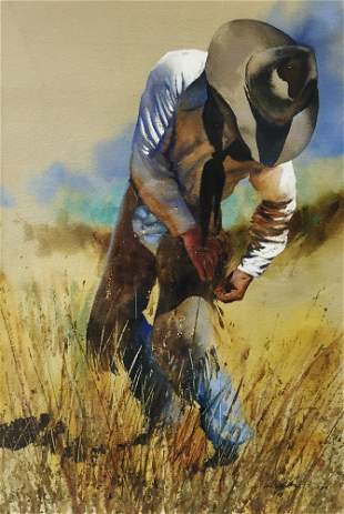 Untitled (Cowboy Fixing Chaps) by William Matthews