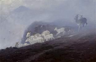 Ewes Seeking Shelter by Carl Rungius