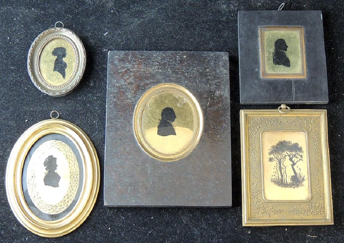 5 18th/19th Century Verre Eglomisé Silhouettes