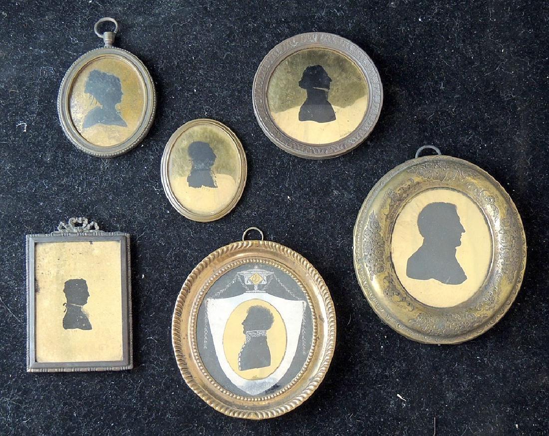 6 18th/19th Century Verre Eglomisé Silhouettes
