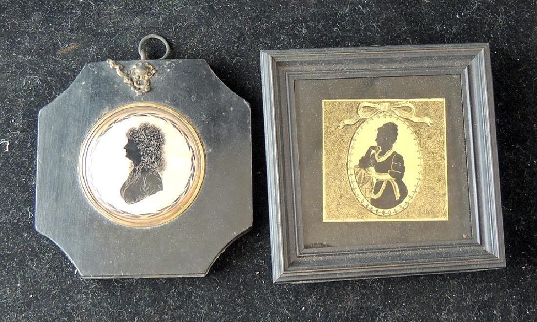 5 18th/19th Century Verre Eglomisé Silhouettes - 3
