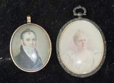 Two Miniature Watercolor Portraits