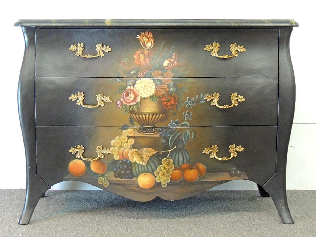 Maitland Smith Painted Bombé Chest