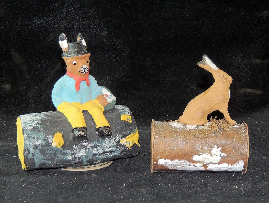 Two Candy Containers: Rabbits on Logs