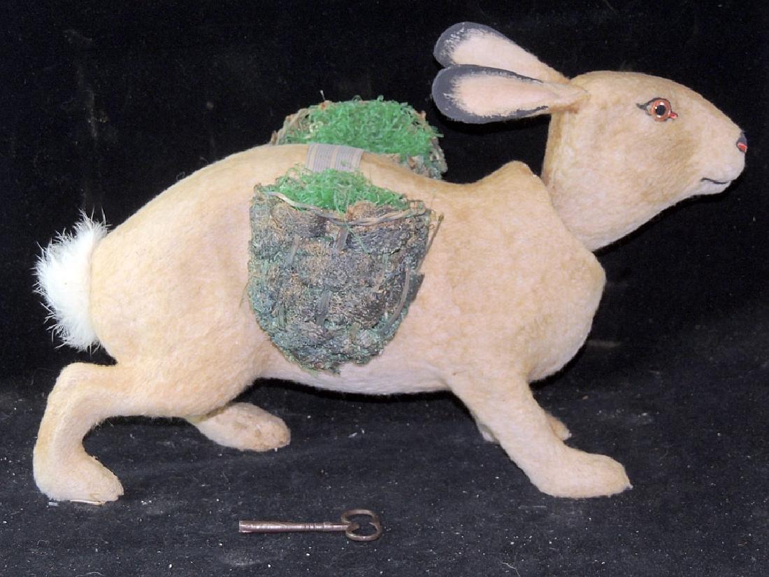 Large Mohair Rabbit Clockwork Nodder - 2