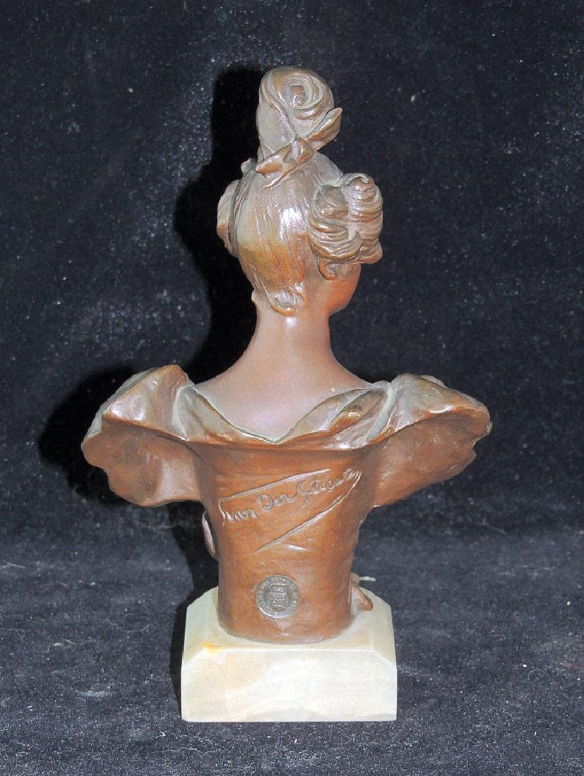 Georges Van Der Straeten Bronze Bust of A Woman - 2