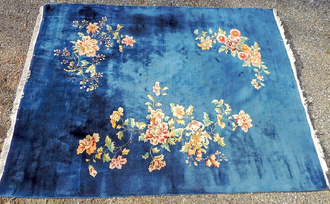 Blue/Floral Chinese Art Deco Room-size Carpet