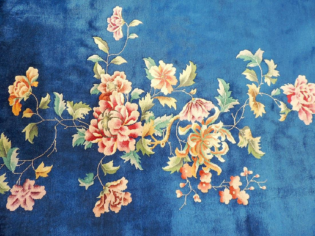 Blue/Floral Chinese Art Deco Room-size Carpet - 2