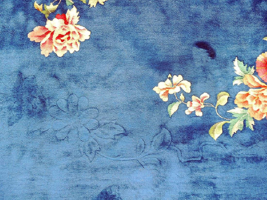 Blue/Floral Chinese Art Deco Room-size Carpet - 3