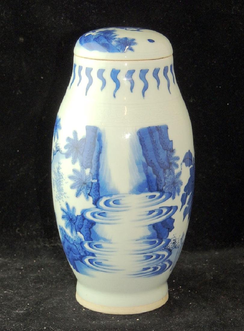 Chinese Blue and White Porcelain Covered Vase - 2