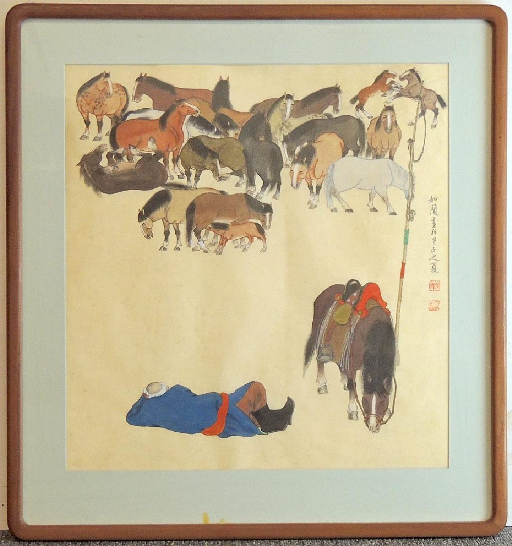 Chinese Watercolor: Man with Horses