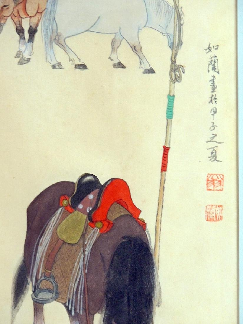Chinese Watercolor: Man with Horses - 2