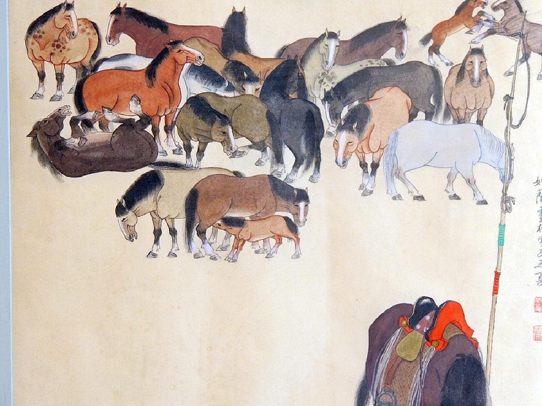 Chinese Watercolor: Man with Horses - 3