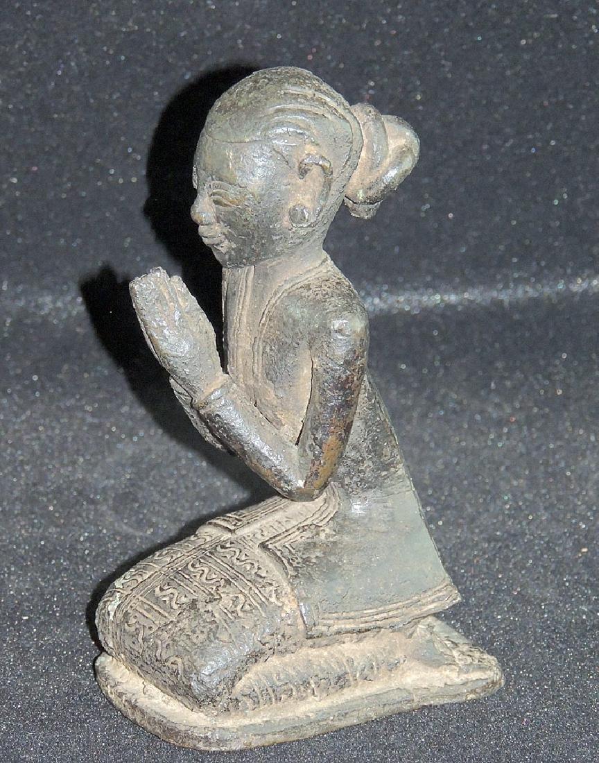 Asian Bronze Statue of Woman in Prayer - 2