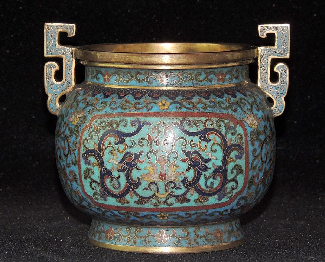 Chinese Cloisonné and Bronze Censer