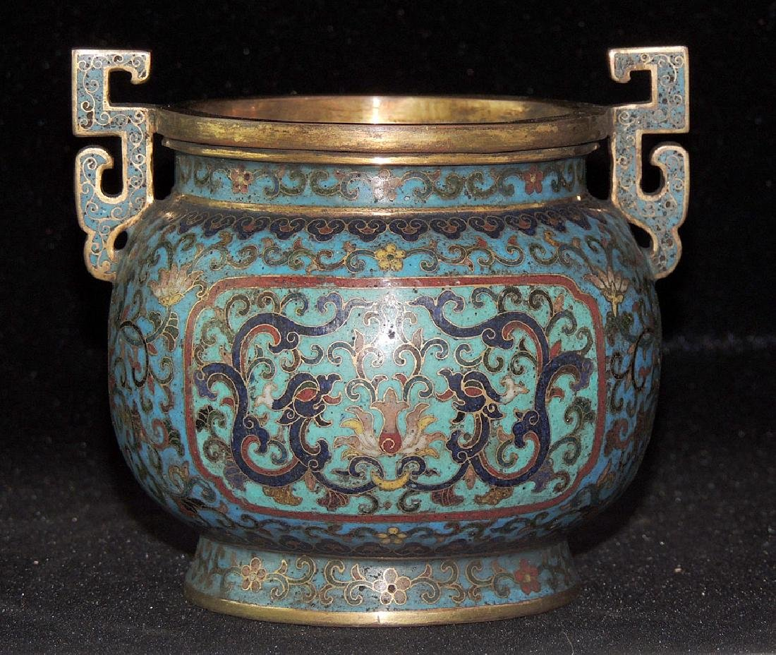 Chinese Cloisonné and Bronze Censer - 3