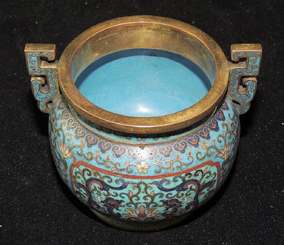 Chinese Cloisonné and Bronze Censer - 4