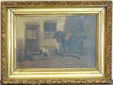 19th C. Oil/Canvas, Genre Scene with Horse & Dog