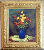 Jan De Ruth Oil on Canvas Floral Still Life