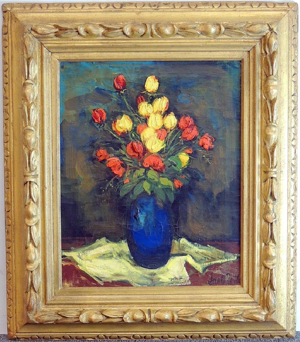 Jan De Ruth Oil on Canvas, Floral Still Life