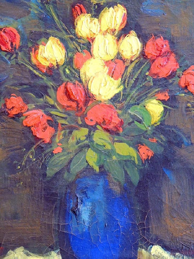 Jan De Ruth Oil on Canvas, Floral Still Life - 2
