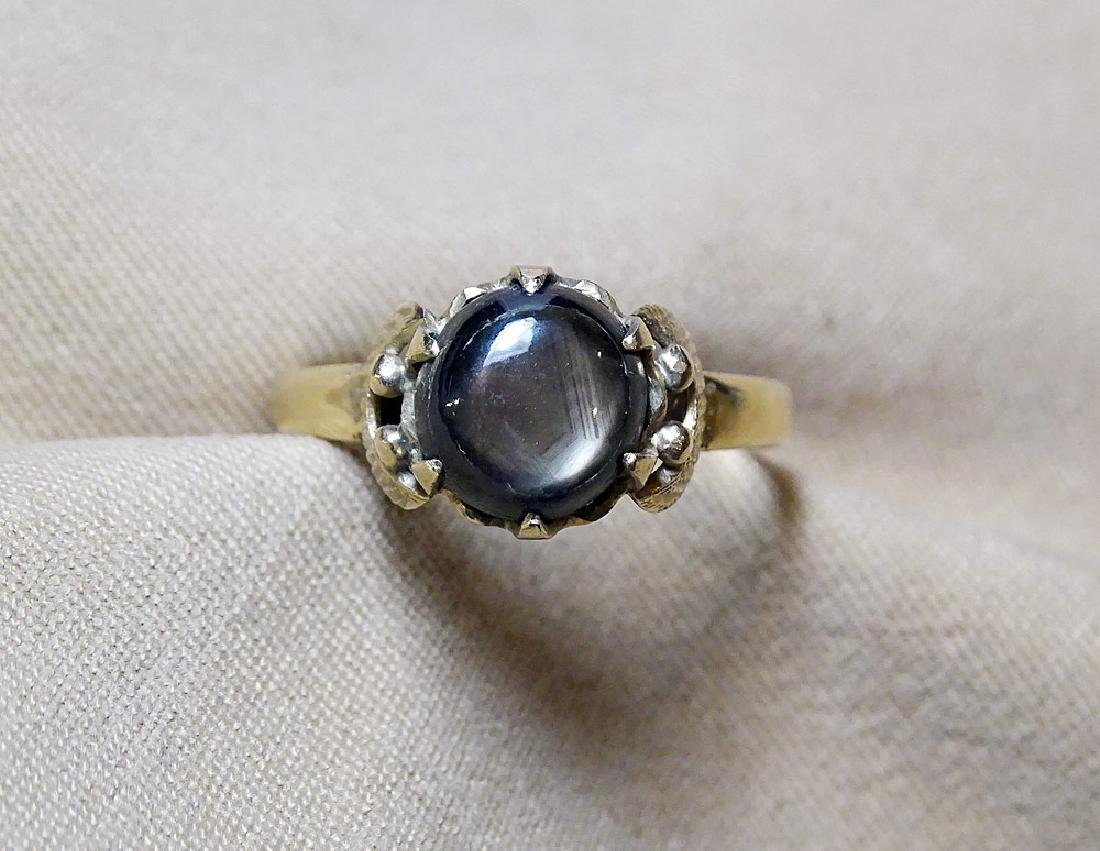 Black Star Sapphire Ring in 18K Yellow Gold