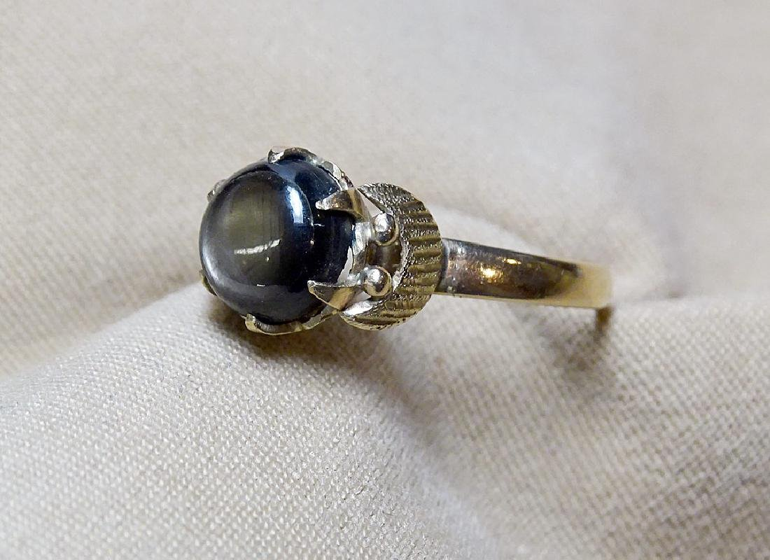 Black Star Sapphire Ring in 18K Yellow Gold - 2
