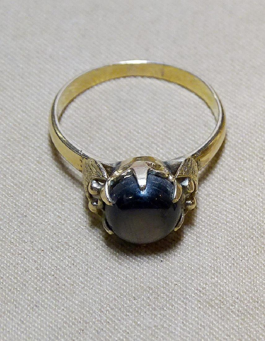 Black Star Sapphire Ring in 18K Yellow Gold - 3