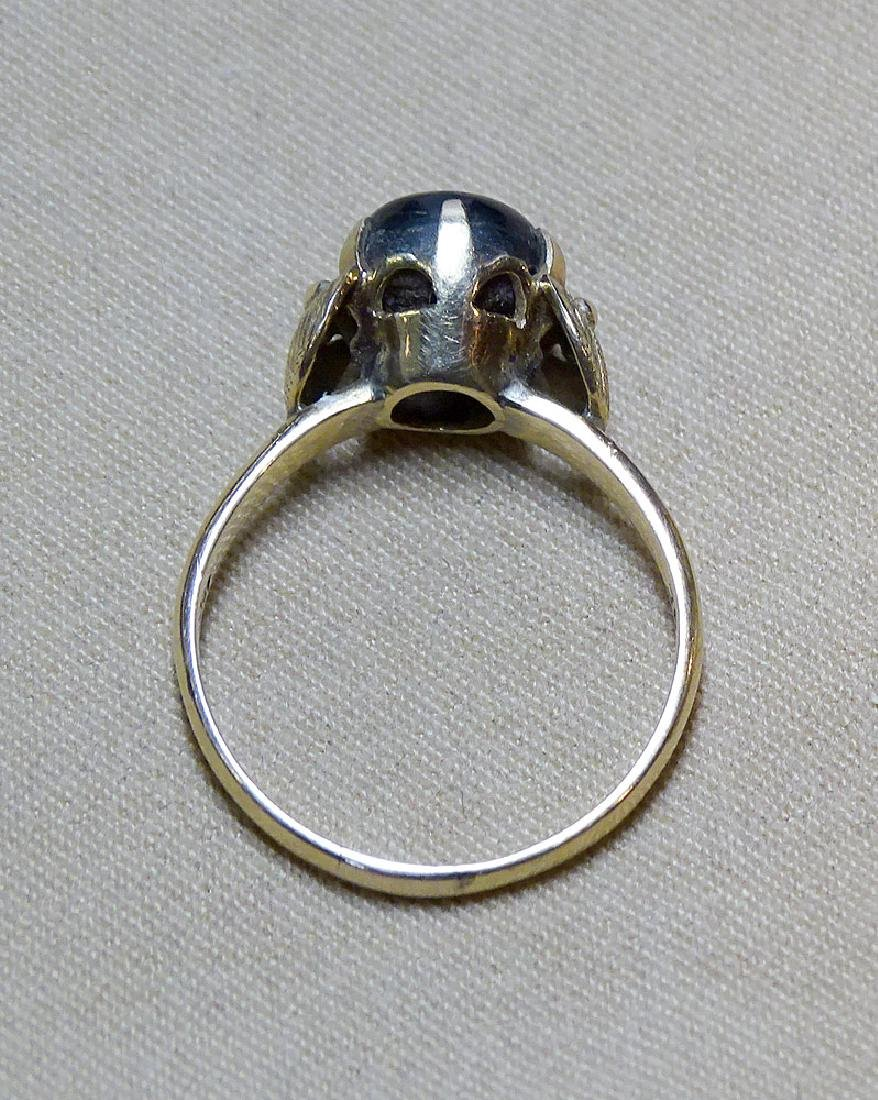 Black Star Sapphire Ring in 18K Yellow Gold - 4