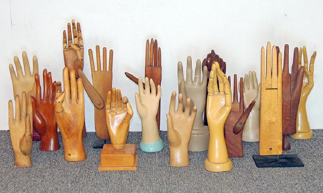 Collection of 18 Wood and Composite Glove Forms