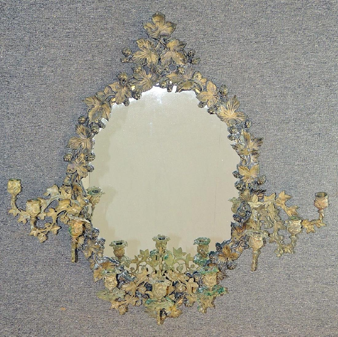 Rococo Revival Bronze Nine-Light Girandole Mirror