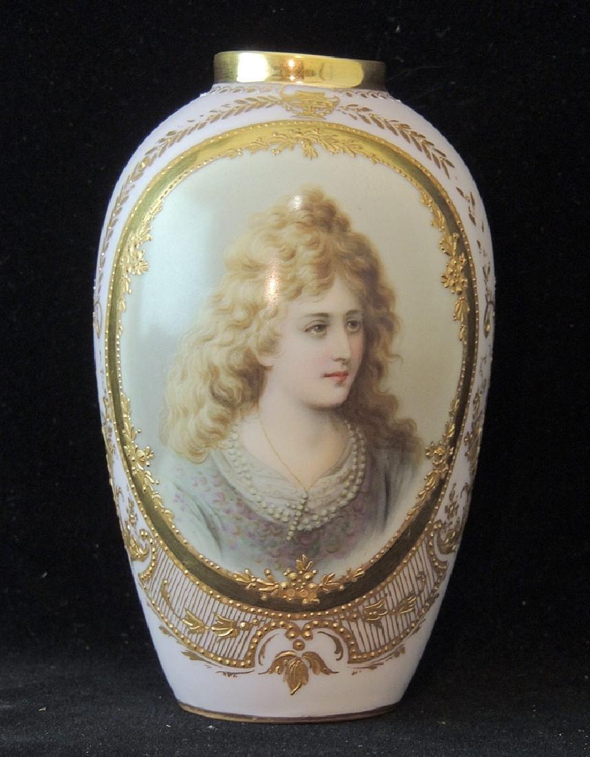 German Porcelain Portrait Vase
