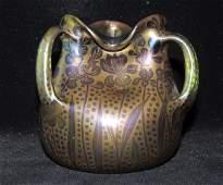 Three-handled Art Glass Vase