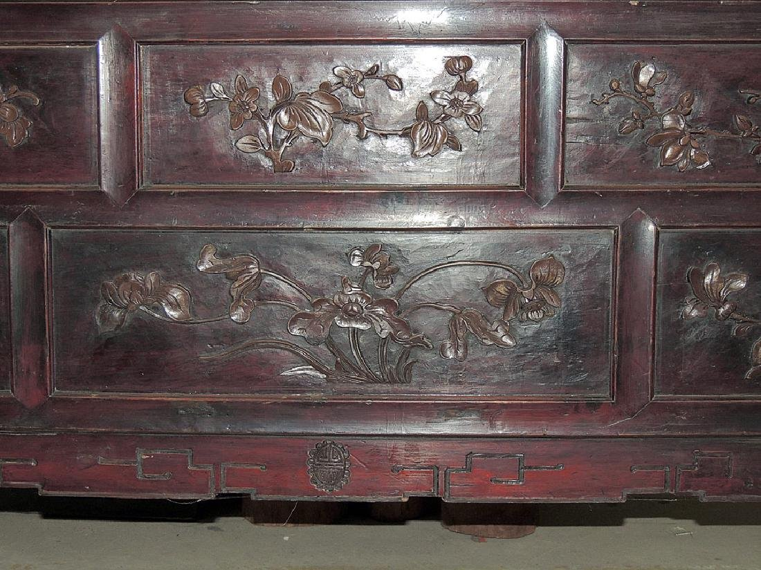 Chinese Carved Lacquer Sideboard Cabinet - 2