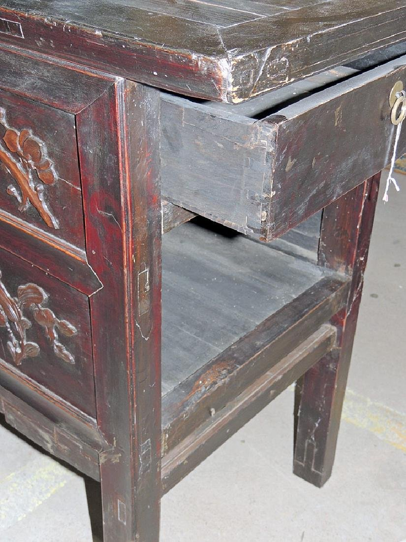Chinese Carved Lacquer Sideboard Cabinet - 3