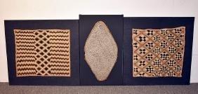 Three African Kuba Textiles Mounted On Boards