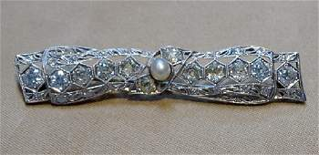 Diamond and Pearl Platinum Bar Pin