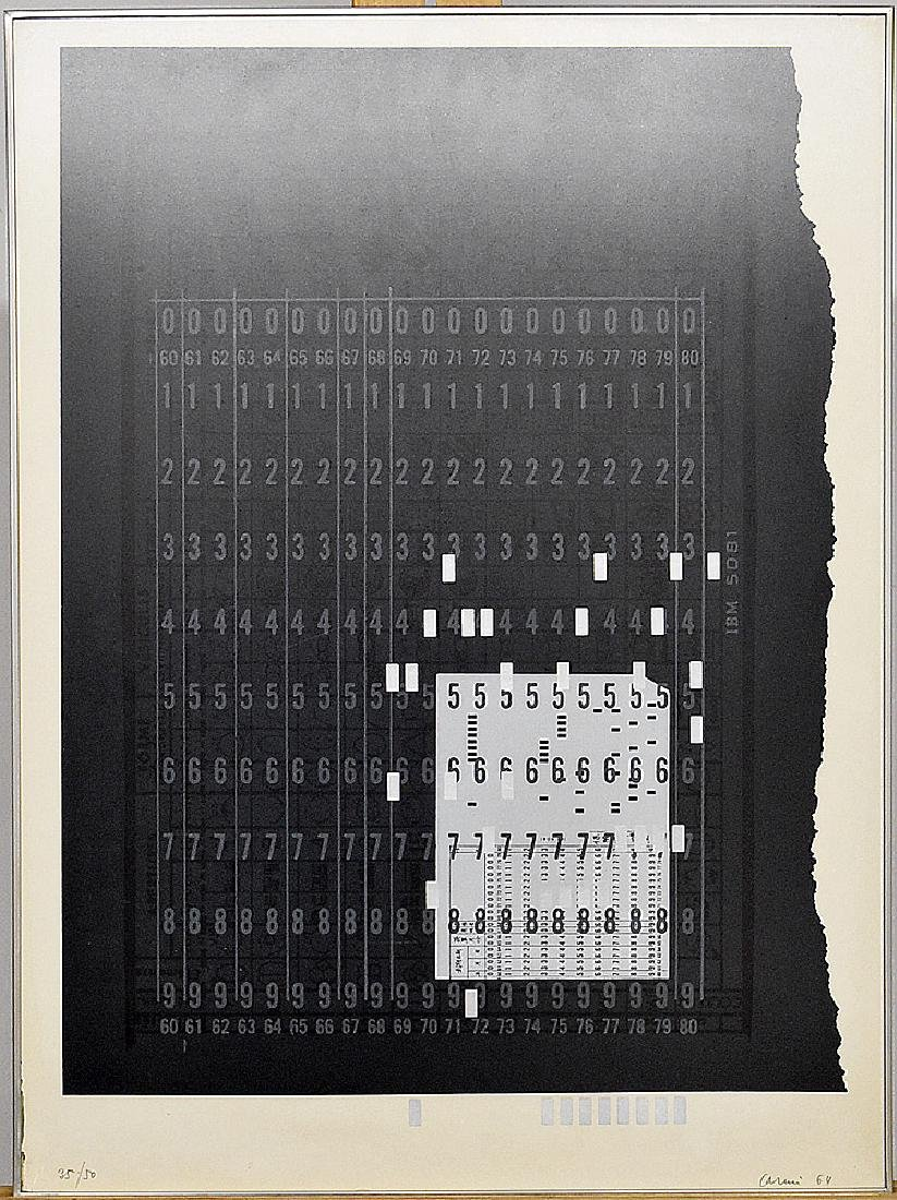 Eugenio Carmi Serigraph, Abstract Punch Card