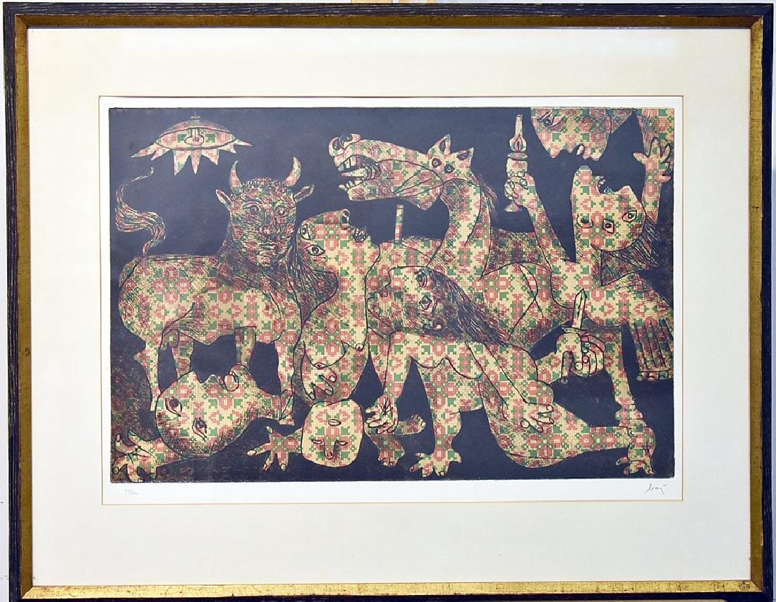 Enrico Baj Color Etching, Guernica