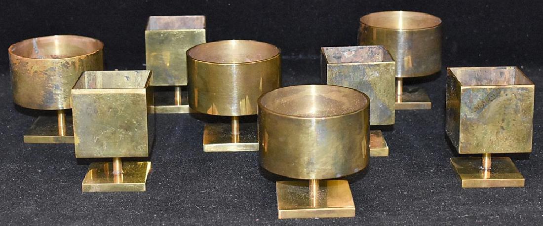 Eight Brass Modernist Vases