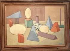 Paul Shaub Oil on Canvas, Cubist Still Life