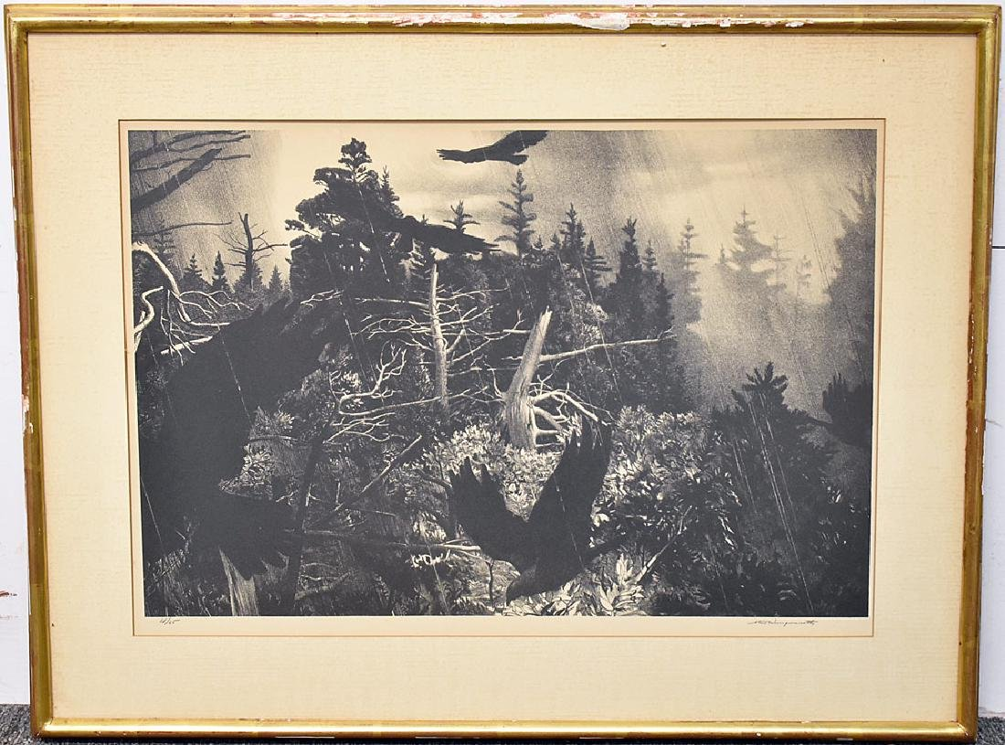 Stow Wengenroth Lithograph, Birds In Flight