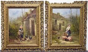Two Continental School Oils on Canvas Farm Scenes