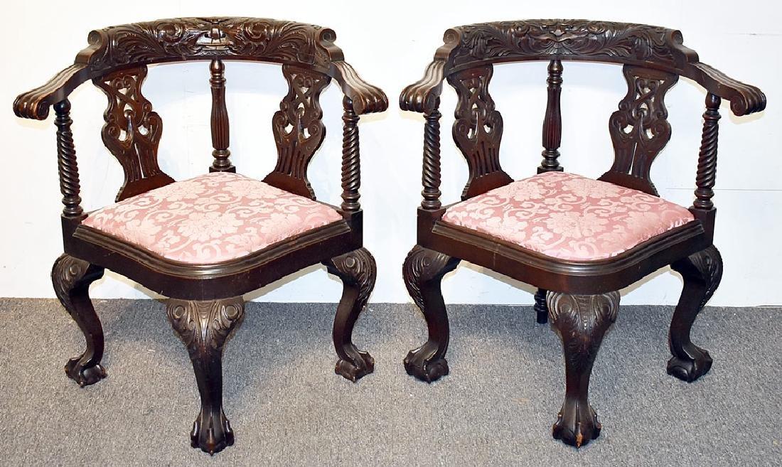 Pair of Mahogany Corner Chairs