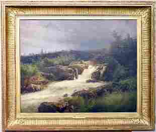 Hermann Herzog Oil/Canvas, Waterfall Through Rocks